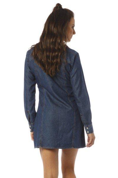 vestido curto manga longa jeans escuro dz12072 costas proximo denim zero
