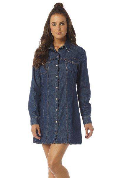 vestido curto manga longa jeans escuro dz12072 frente proximo denim zero