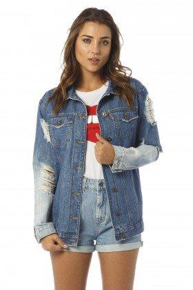 jaqueta feminina oversize detonada dz9069 frente proximo denim zero