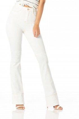 calca flare hot pants cor branco dz2291 denim zero frente proximo