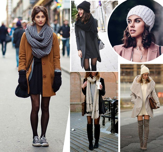 35 como usar vestido no inverno touca