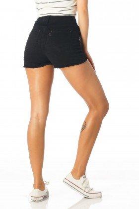 shorts feminino pin up preto dz6167 costas proximo denim zero