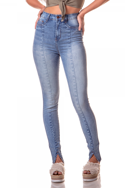 dz2742 calca skinny cintura alta recorte frontal denim zero frente cortada