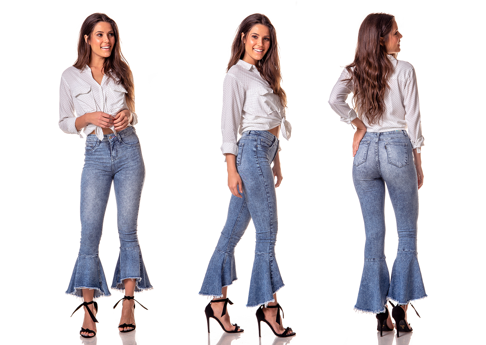 dz2747 calca boot cut cropped media marmorizado denim zero tripla