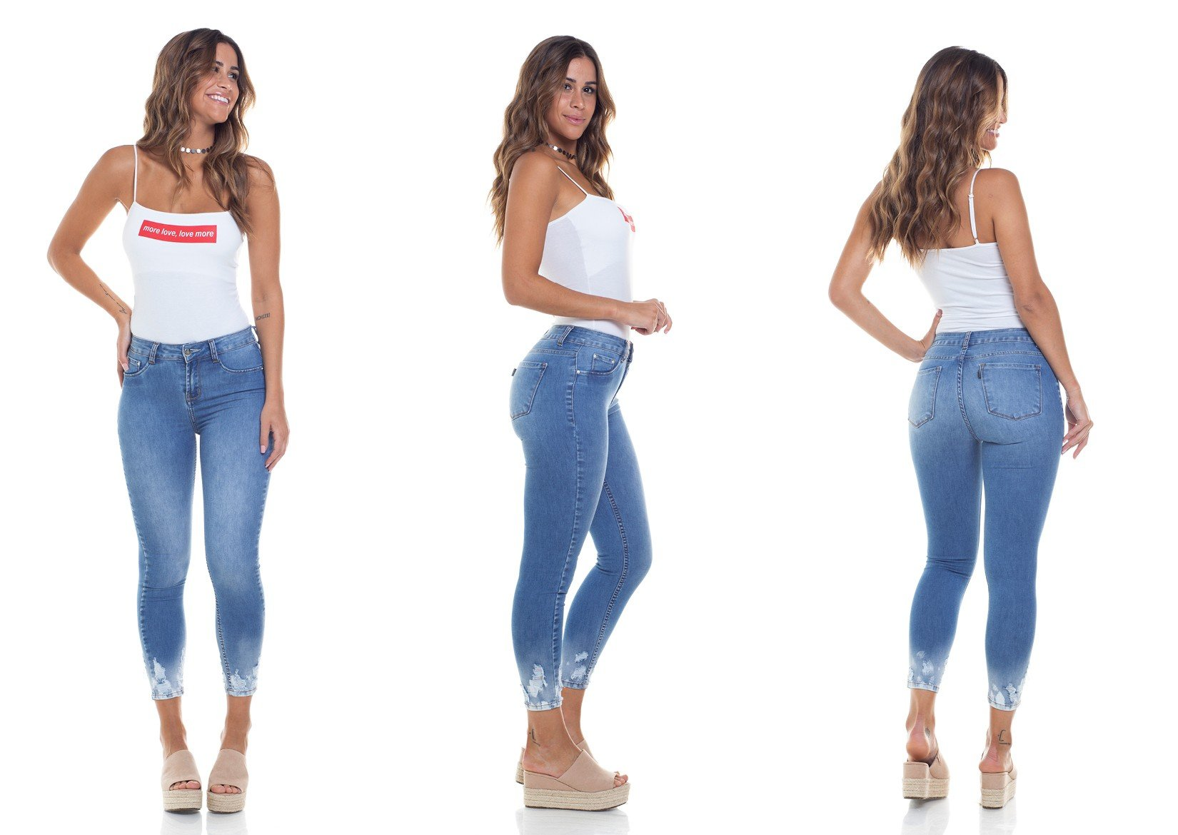 dz2783 calca skinny media cropped trio
