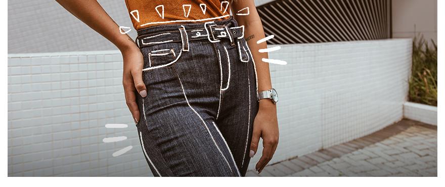 TREND ALERT: Calça jeans com cinto do próprio tecido