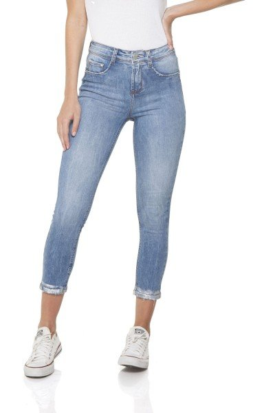 dz2842 calca jeans skinny cropped media barra denim zero frente prox