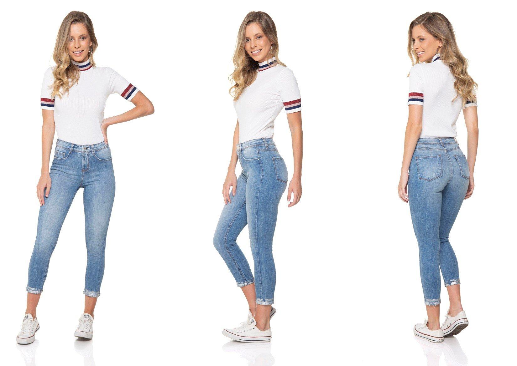 dz2842 calca jeans skinny cropped media barra denim zero tripla