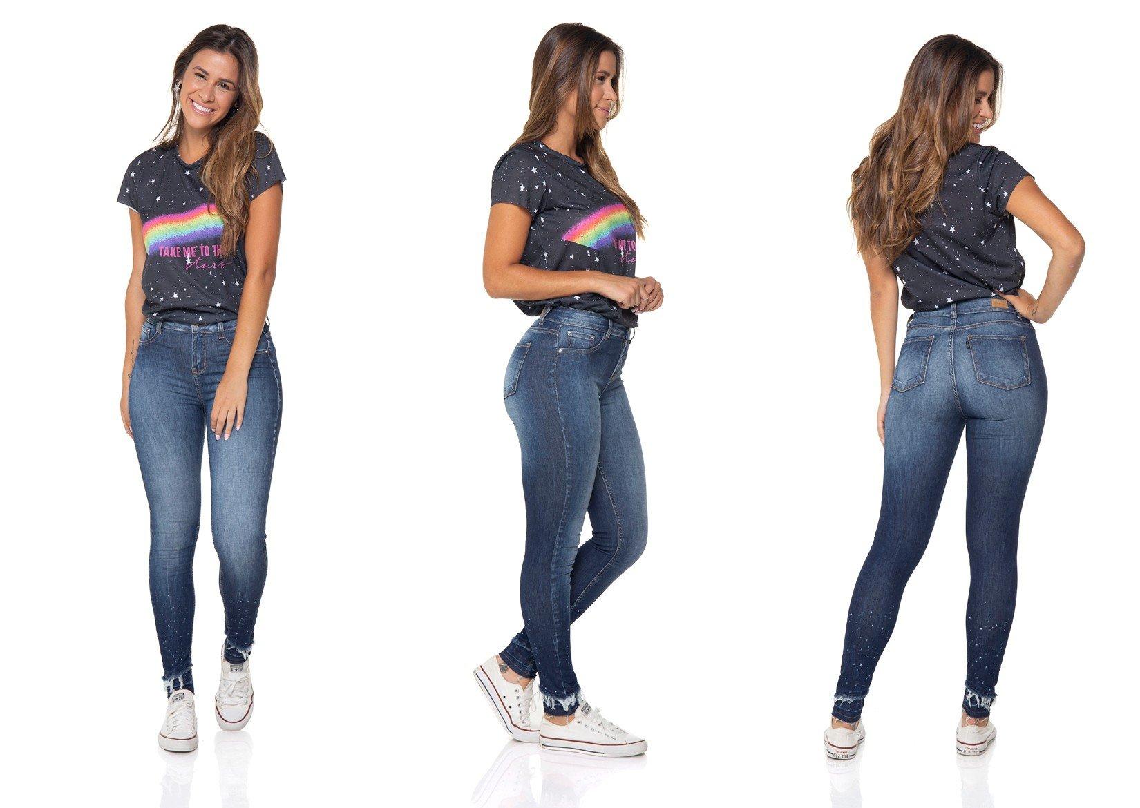 dz2847 calca jeans skinny media cigarrete denim zero tripla
