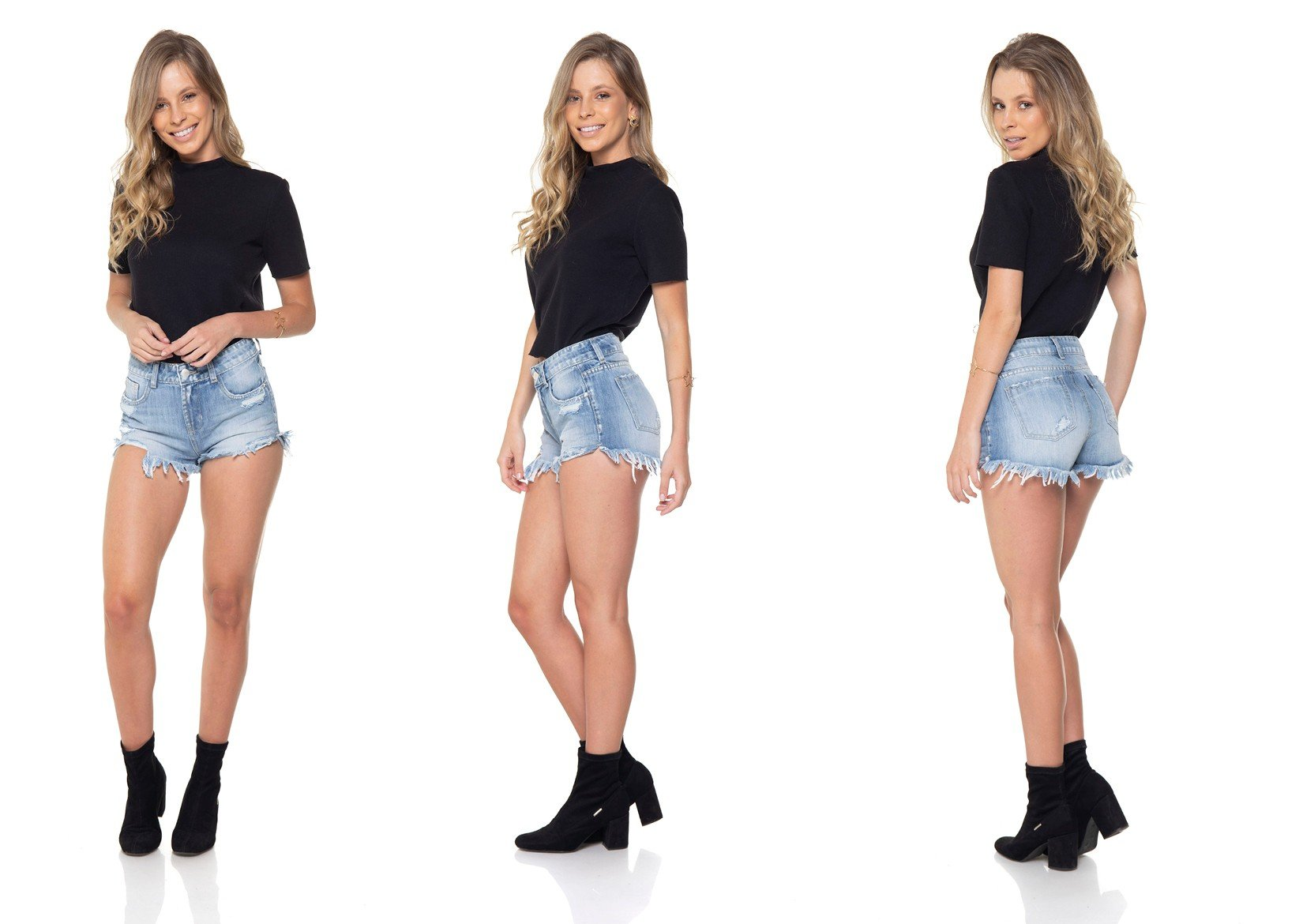 dz6287 shorts jeans young barra desfiada denim zero tripla