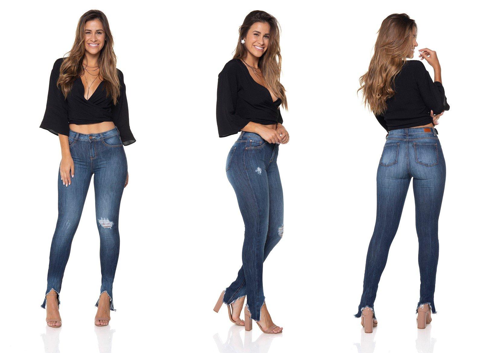 dz2851 calca jeans skinny media barra diferenciada tripla