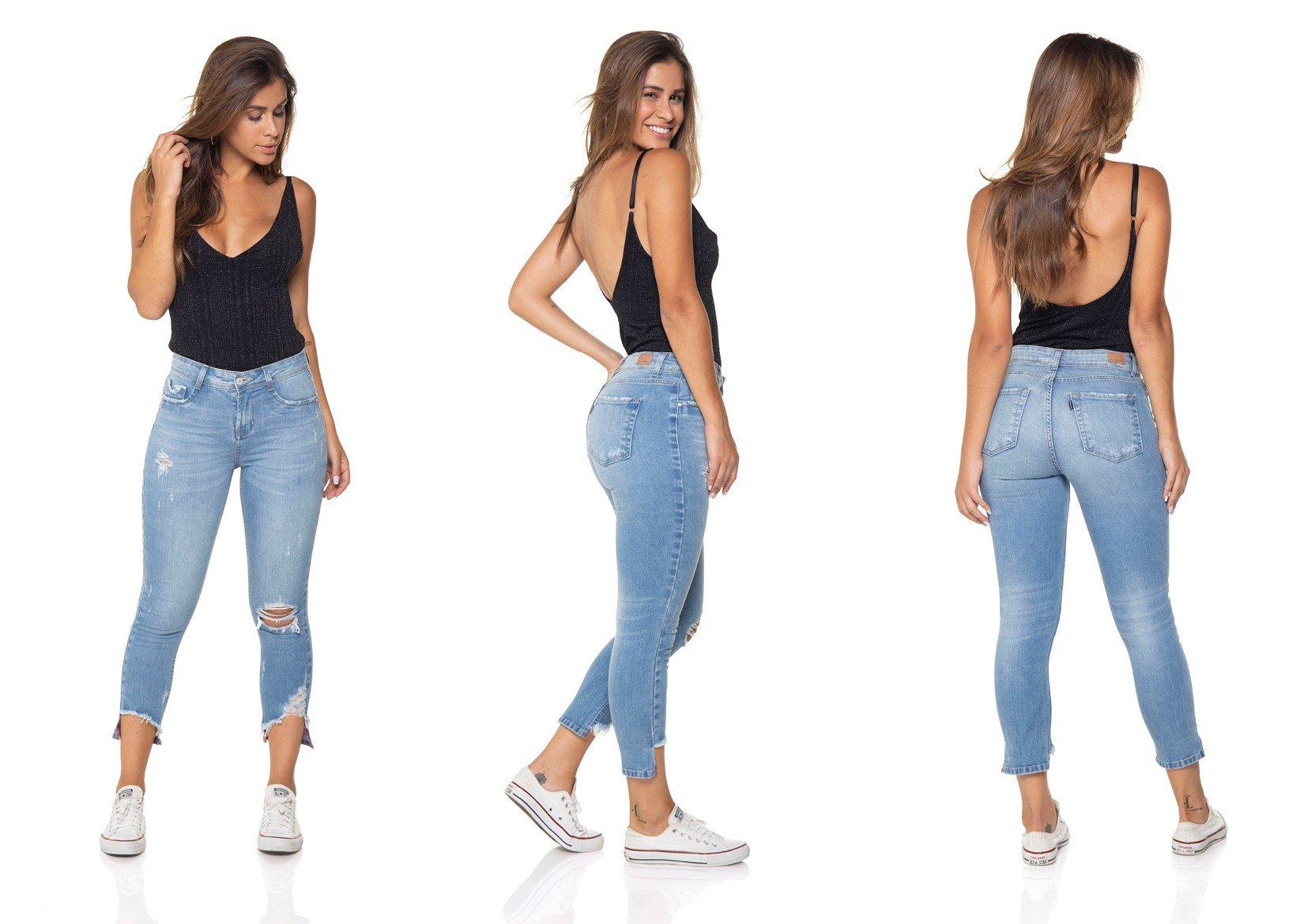 dz2861 calca jeans skinny cropped media denim zero tripla