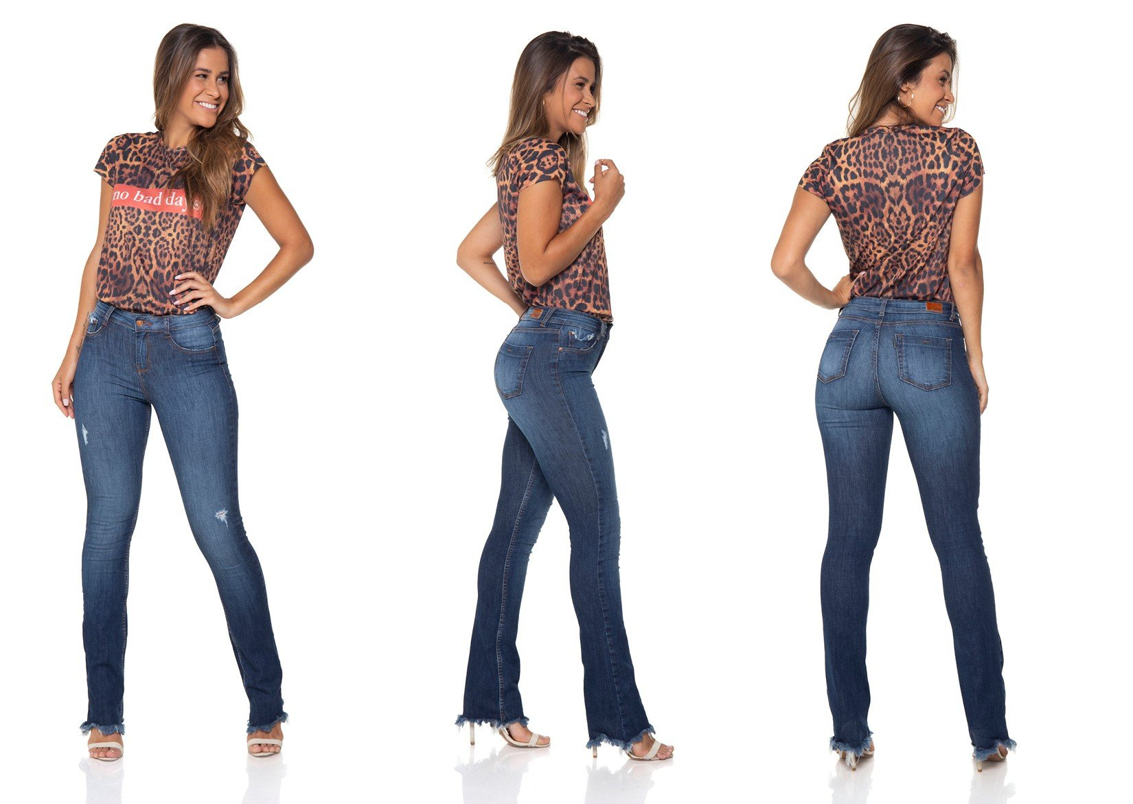 dz2863 calca jeans boot cut media estonada denim zero tripla