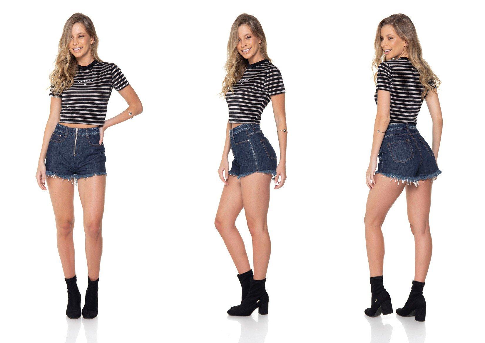 dz6288 shorts jeans setentinha com ziper denim zero tripla