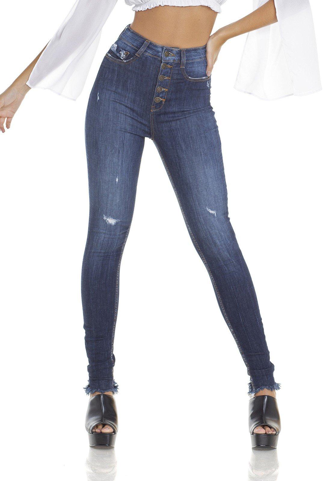 9314ab91b Contos e Lendas: Calça Jeans Feminina Skinny Cintura Alta com ...