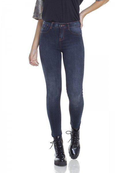 dz2930 calca jeans skinny media escura com linhas contrastantes frente prox denim zero