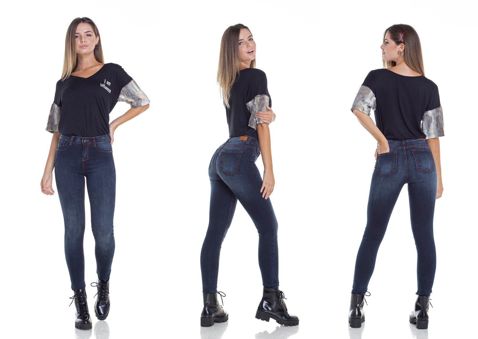 dz2930 calca jeans skinny media escura com linhas contrastantes tripla denim zero