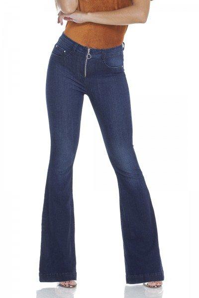 dz2950 calca jeans flare media escura com fechamento de ziper frente prox denim zero