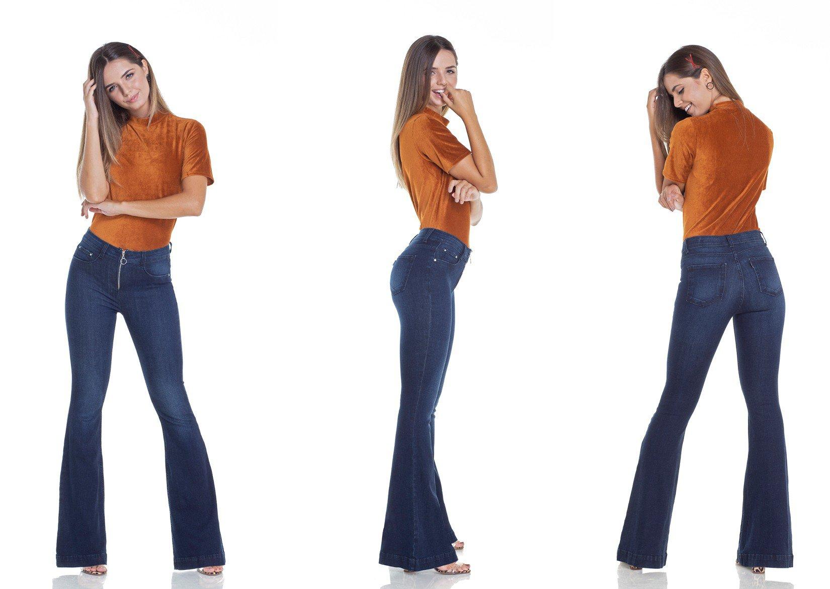 dz2950 calca jeans flare media escura com fechamento de ziper tripla denim zero