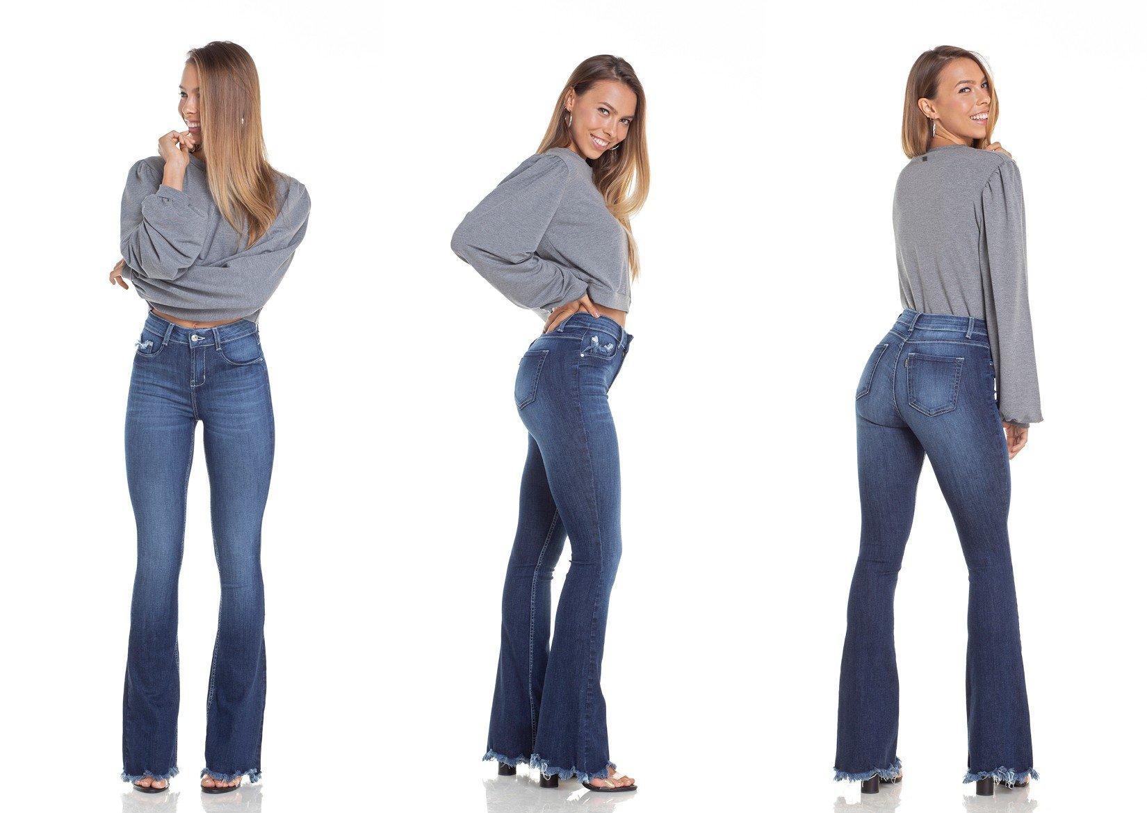 dz2949 calca jeans flare media com bigodes tripla denim zero