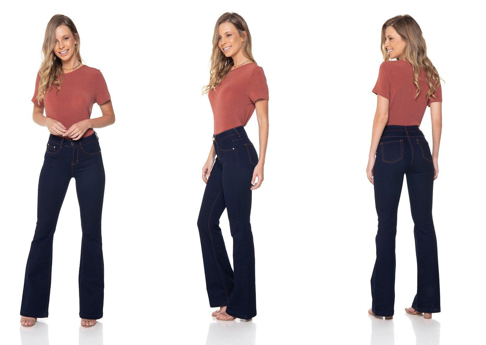dz2375 12 calca jeans flare amaciada denim zero tripla