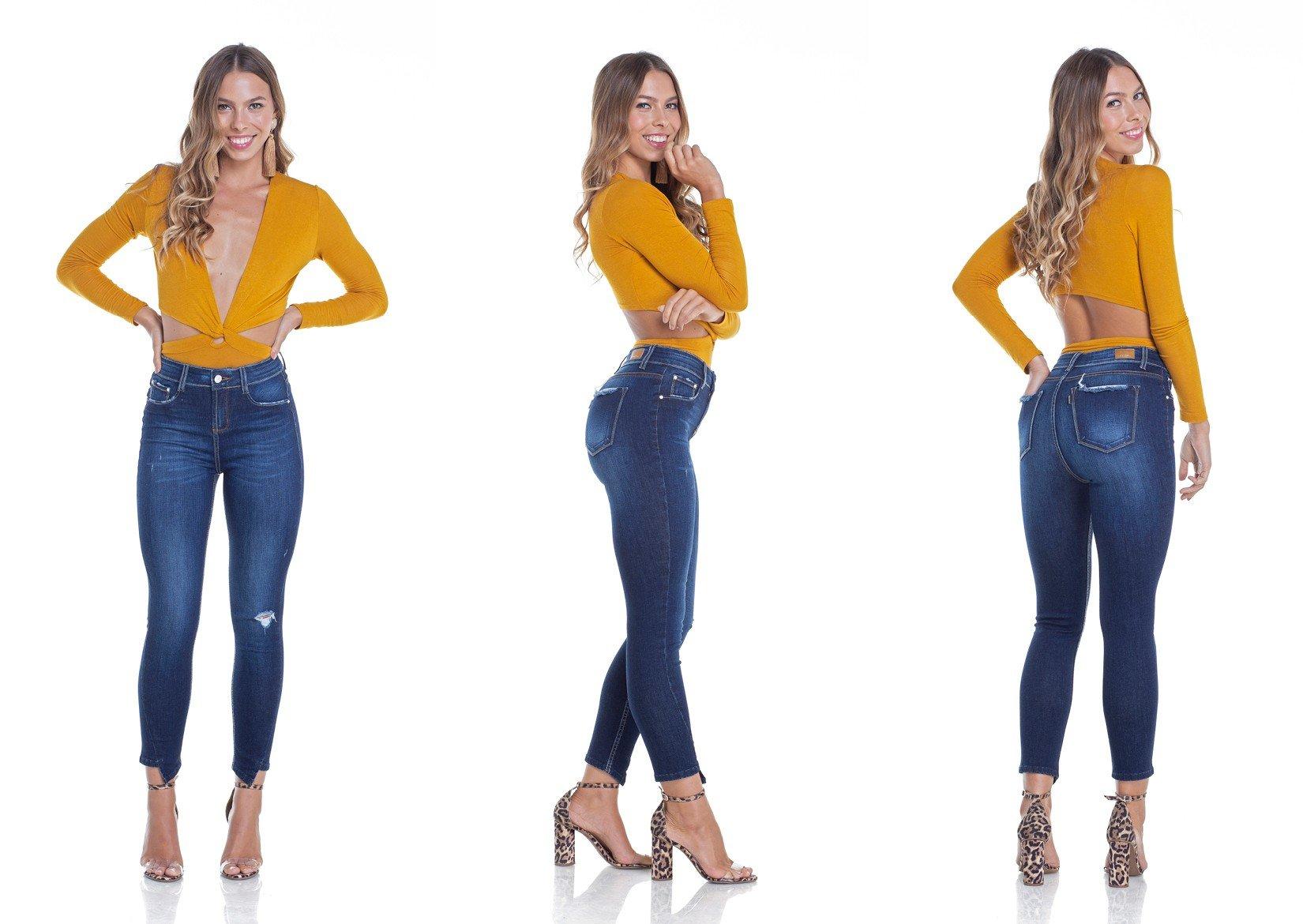 dz2912 calca jeans skinny media cropped ponta na barra tripla denim zero
