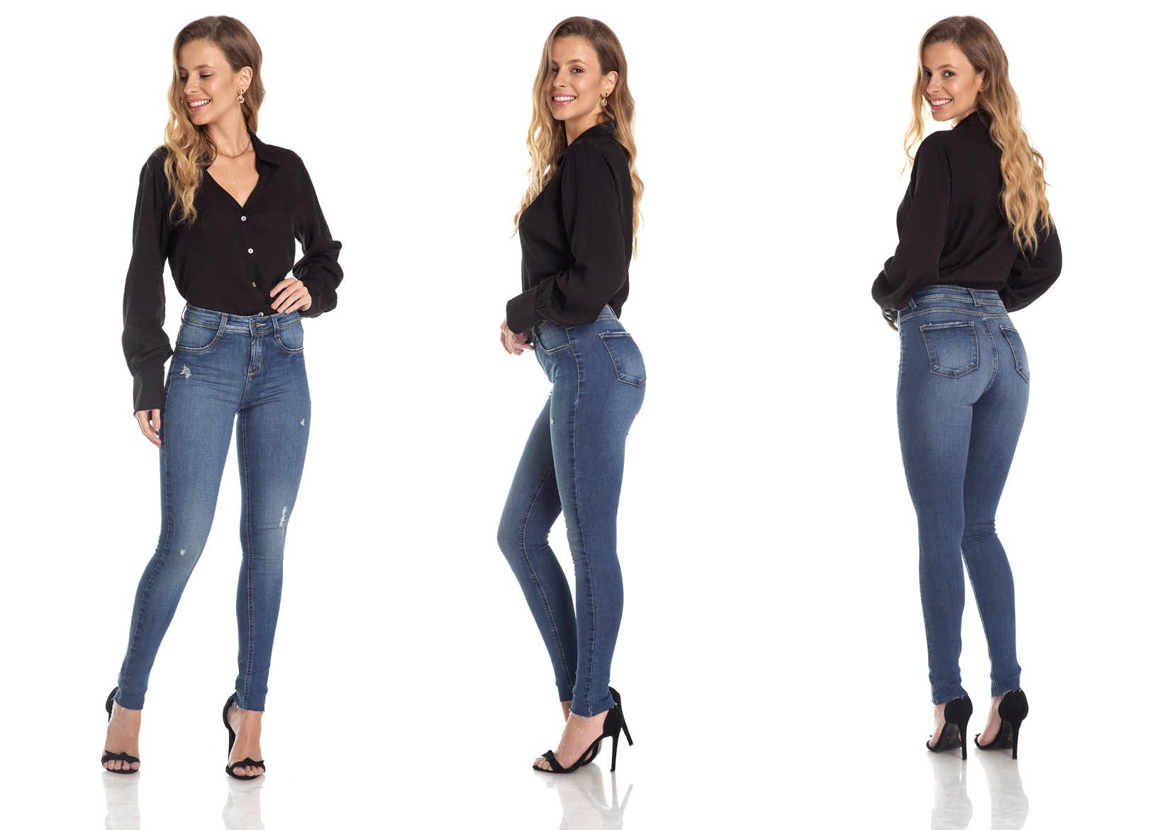 dz2968 calca skinny media puidos trio denim zero