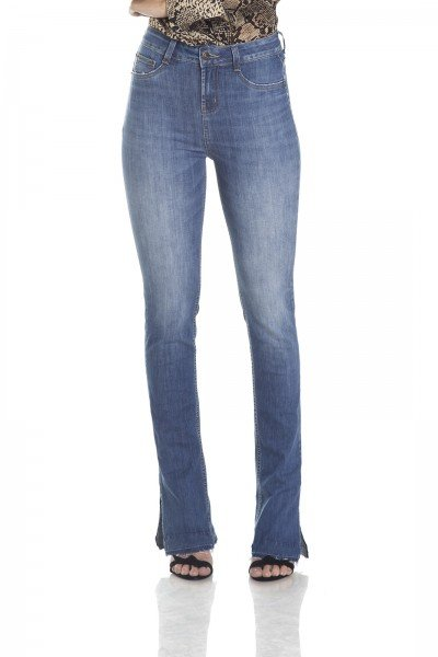 dz2981 calca new boot cut media com marcacoes frente crop denim zero
