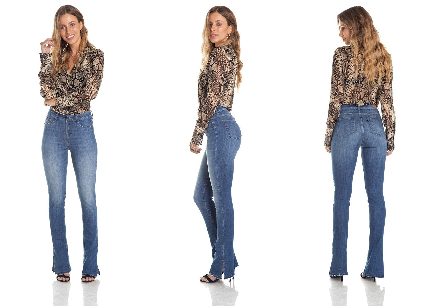 dz2981 calca new boot cut media com marcacoes trio denim zero