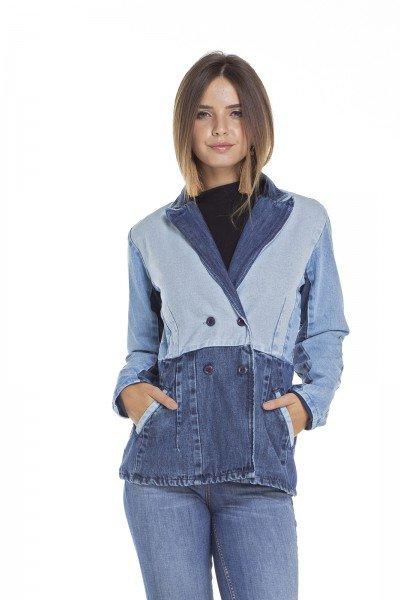 dz9094 blazer jeans feminino alongado frente crop denim zero