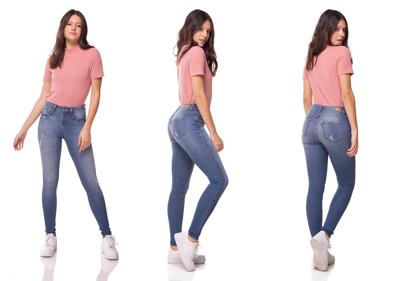 dz2997 calca jeans skinny media com puidos denim zero tripla