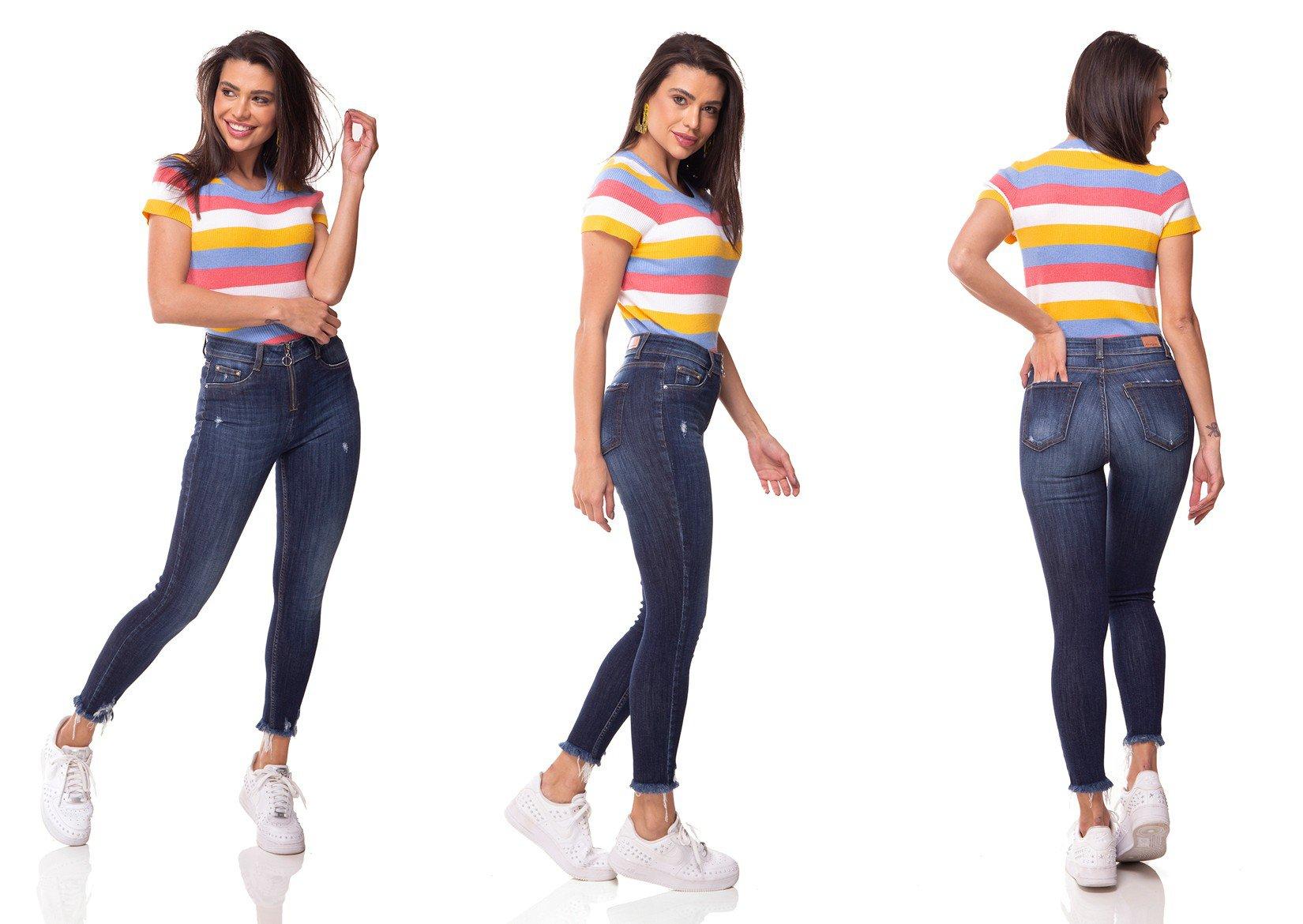 dz3061 calca jeans skinny media cigarrete barra desfiada denim zero tripla