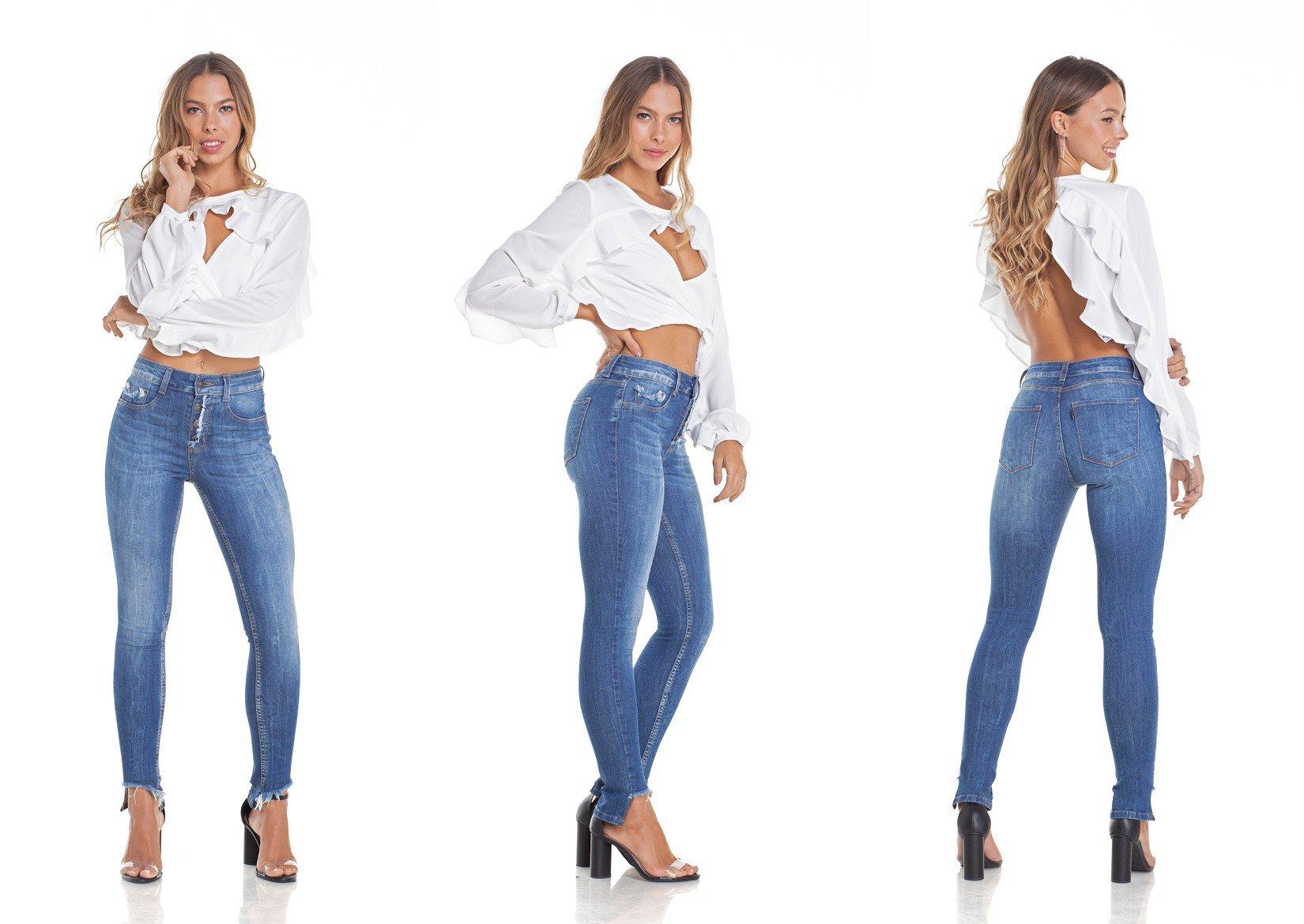 dz2908 calca jeans skinny media cigarrete efeito mullet tripla denim zero