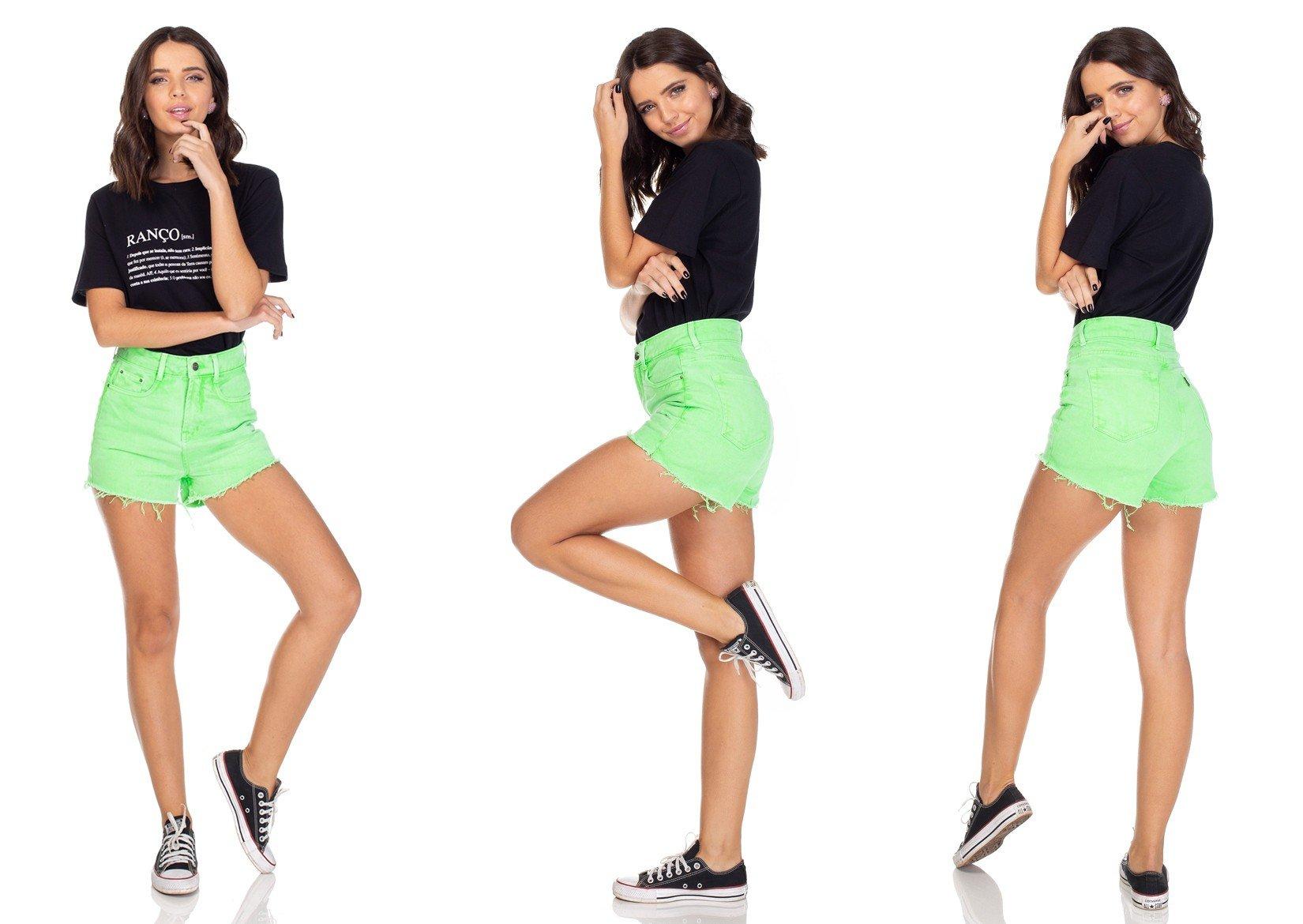 dz6215 shorts jeans setentinha verde neon denim zero tripla