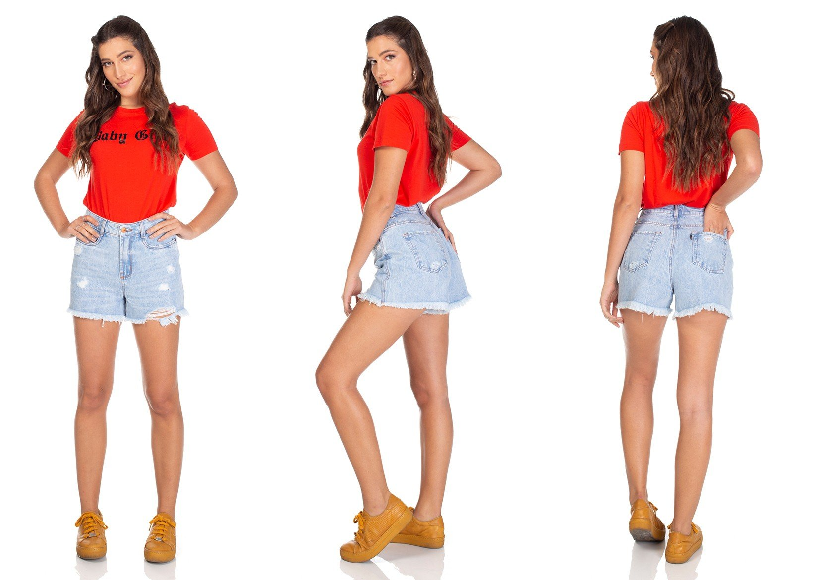 dz6301 shorts jeans regular barra desfiada denim zero tripla