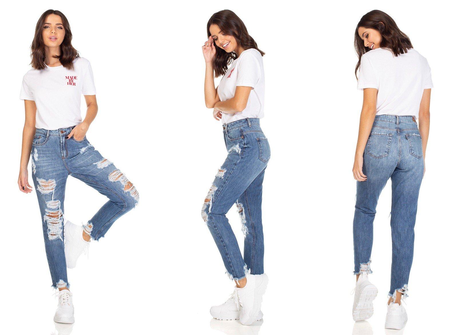 dz3116 calca jeans mom com rasgos denim zero tripla