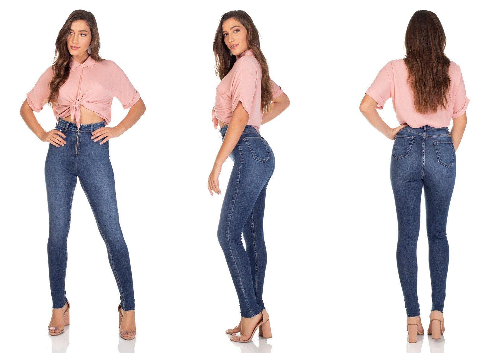 dz3105 calca jeans skinny cintura alta hot pants com ziper denim zero tripla
