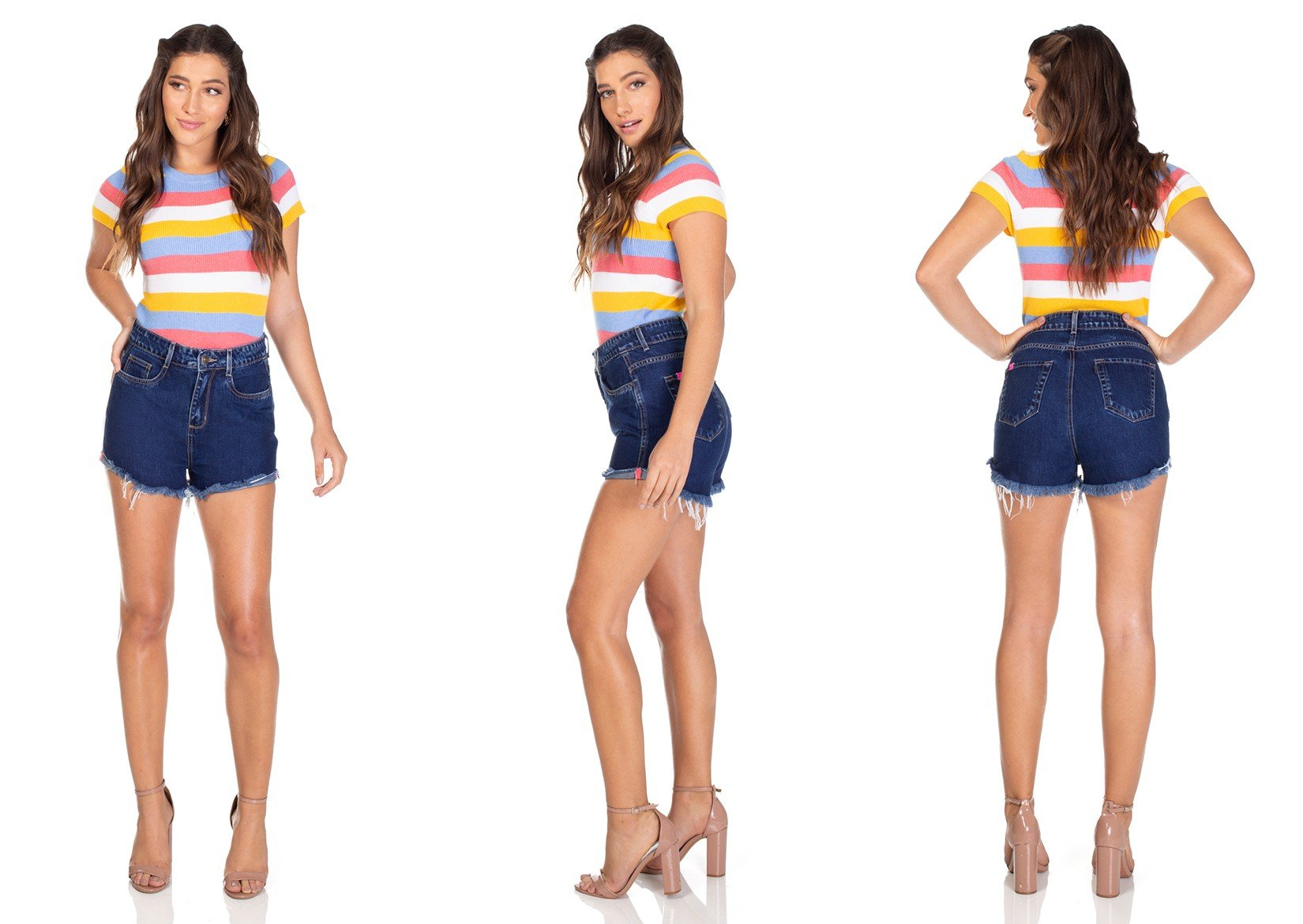dz6305 shorts jeans setentinha escuro barra dobrada denim zero tripla