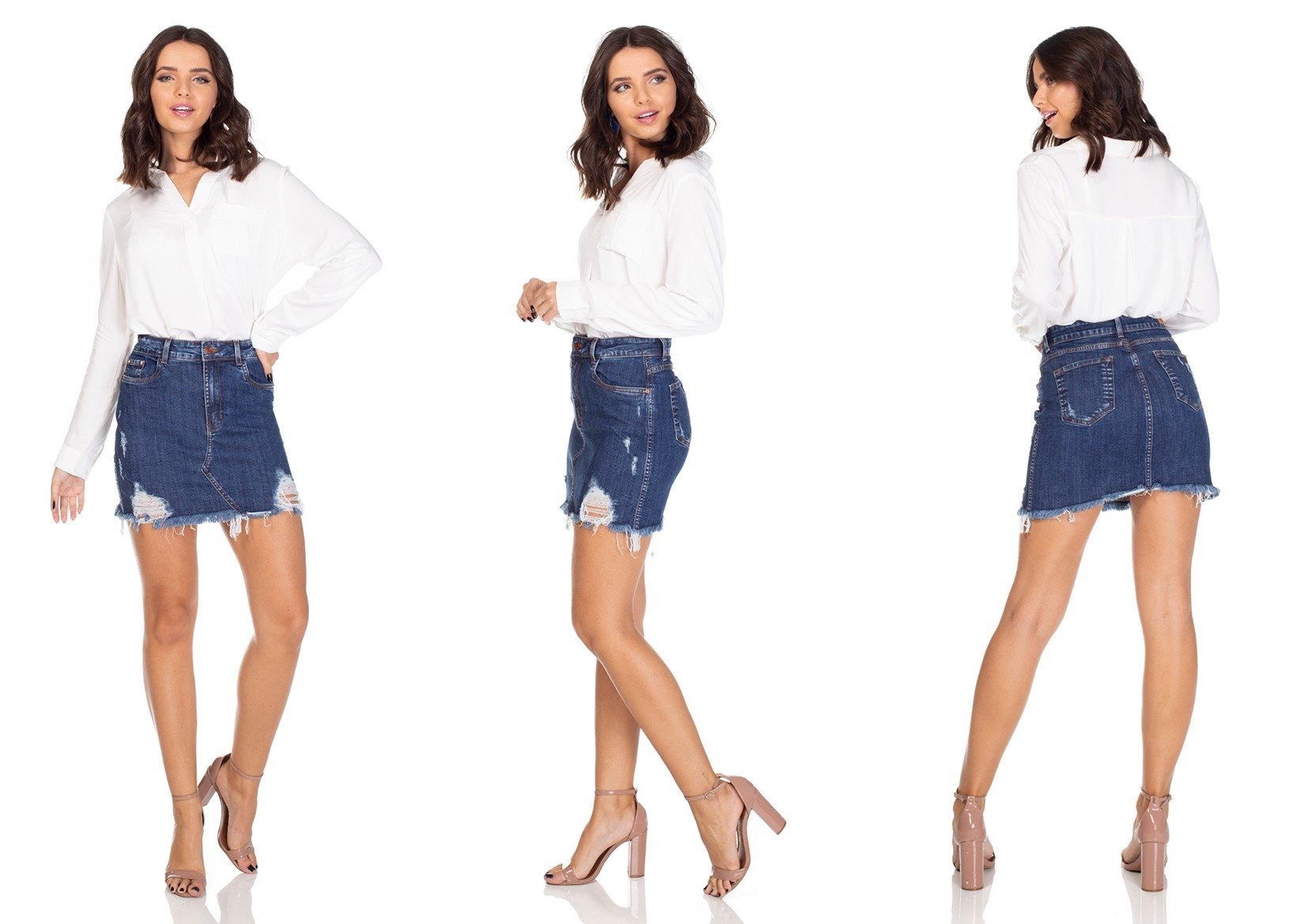 dz7101 saia jeans tubinho com rasgos denim zero tripla