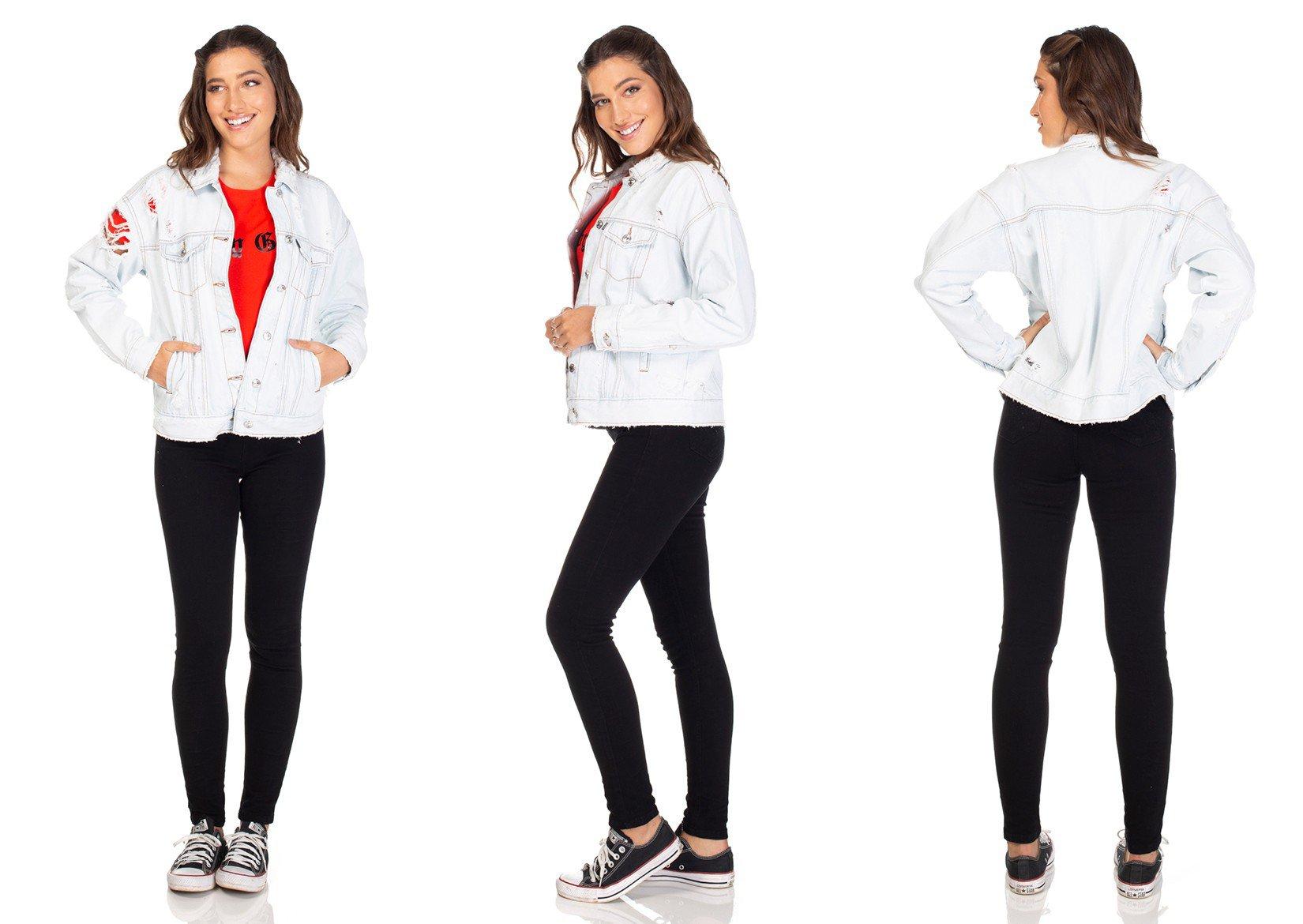 dz9103 jaqueta jeans retro com rasgos denim zero tripla