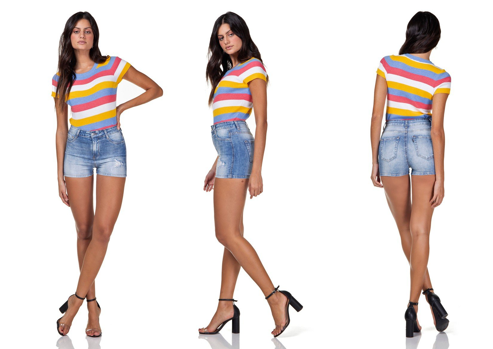 dz6297 shorts jeans feminino pin up com puidos denim zero tripla
