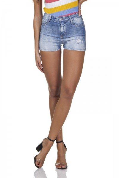 dz6297 shorts jeans feminino pin up com puidos denim zero frente prox