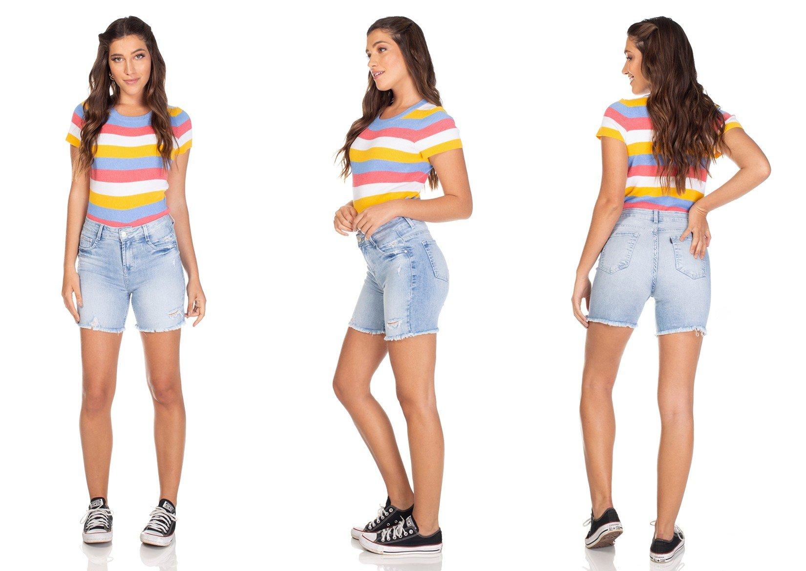 dz4029 bermuda jeans slim clarinha denim zero tripla