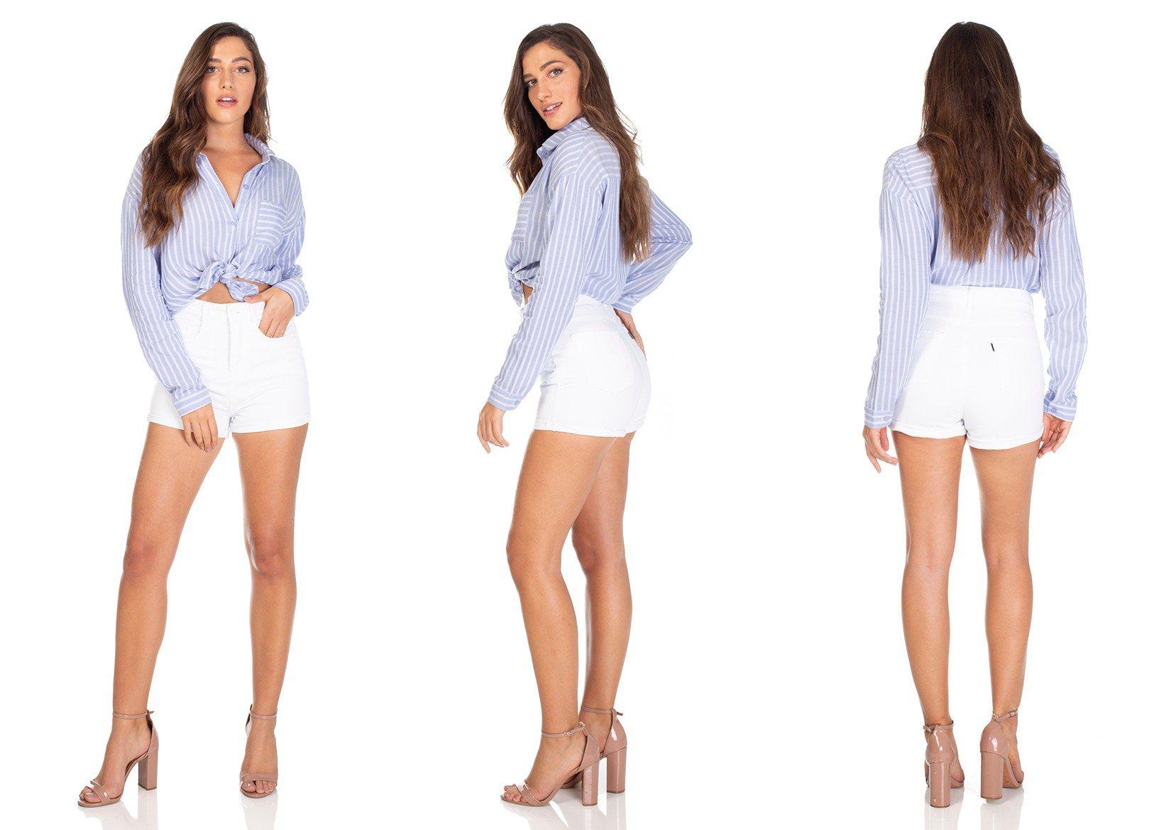 dz6311 shorts jeans setentinho branco denim zero tripla