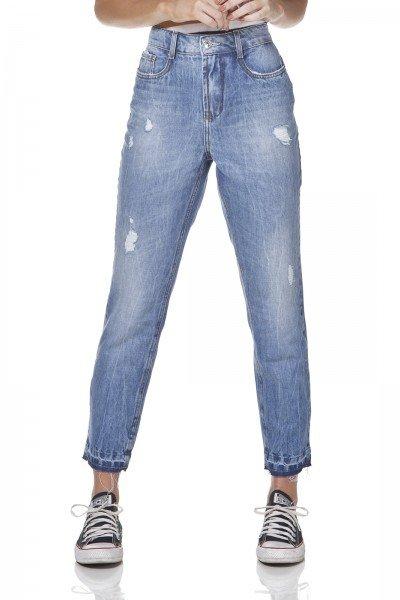 dz3174 calca jeans mom com puidos denim zero frente prox