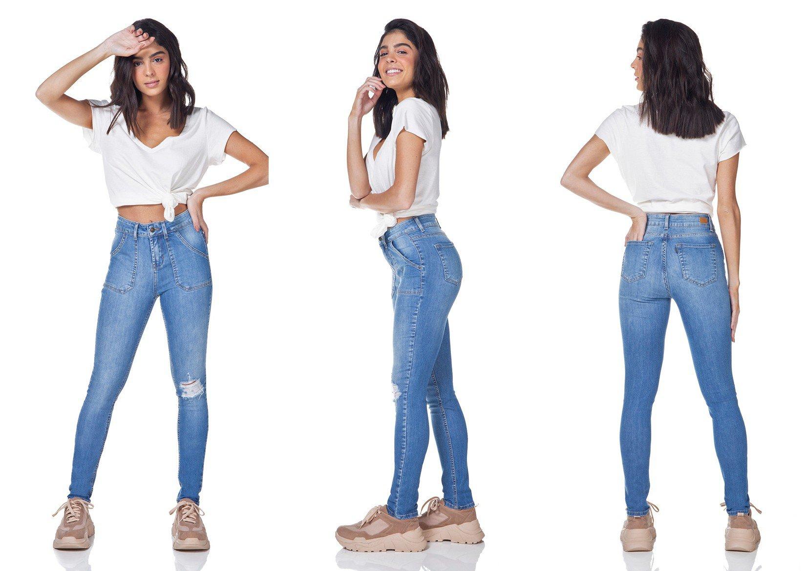 dz3148 calca jeans skinny media bolsos sobrepostos denim zero tripla