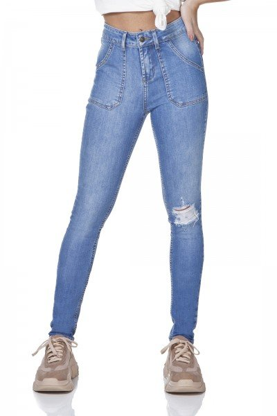dz3148 calca jeans skinny media bolsos sobrepostos denim zero frente prox