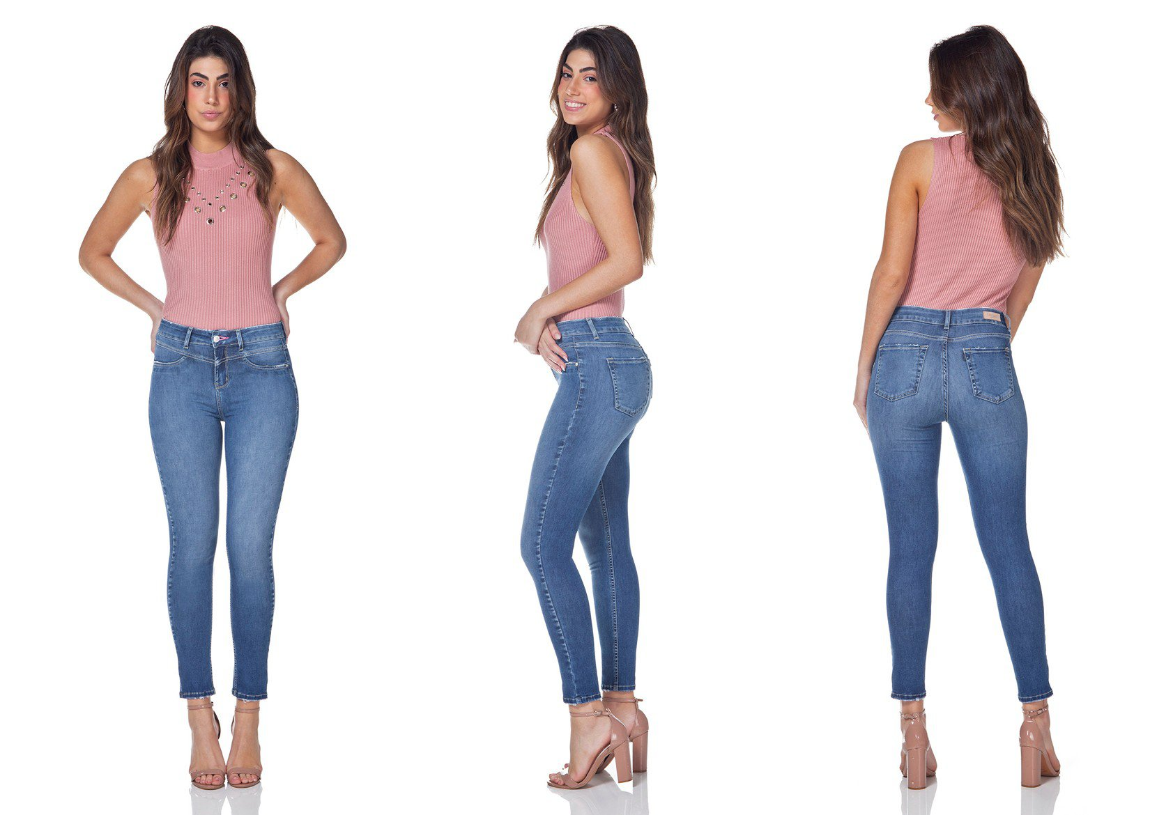 dz3152 calca jeans feminina skinny cigarrete denim zero tripla