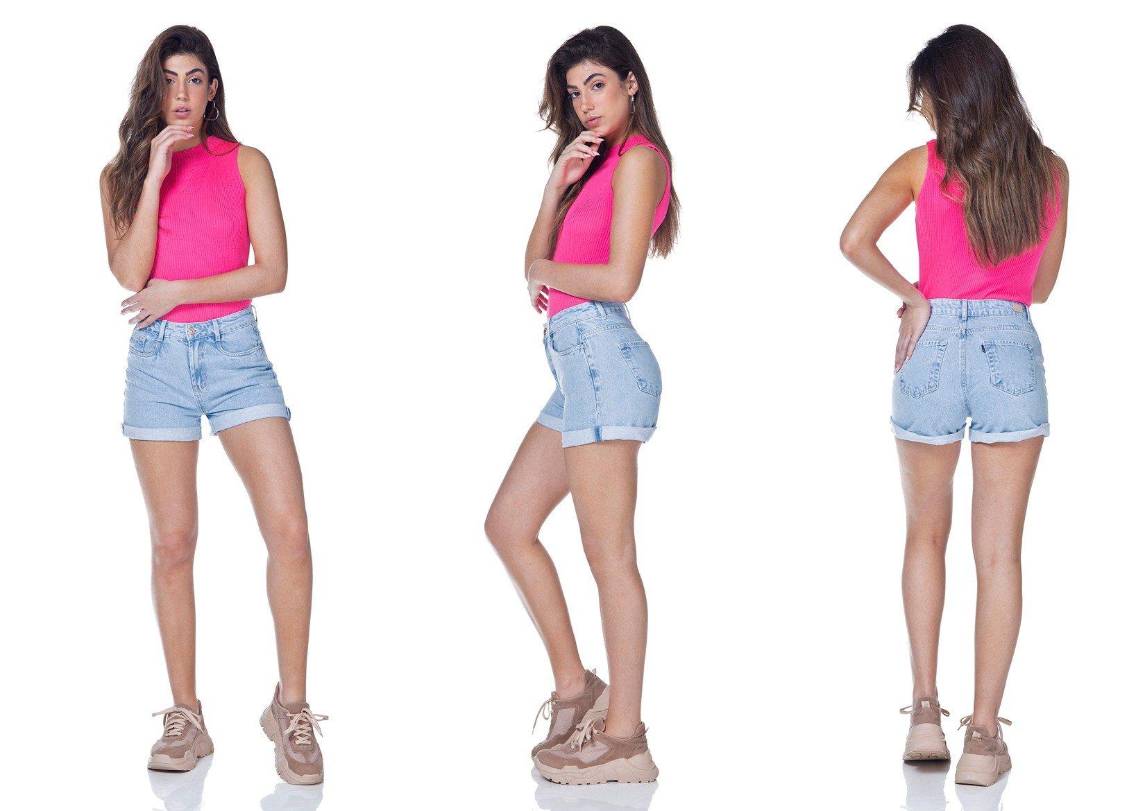 dz6323 shorts jeans feminino mom barra dobrada denim zero tripla
