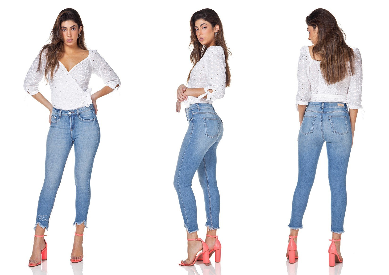 dz3172 calca jeans skinny cropped barra destroyed denim zero tripla